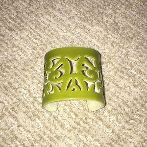 Lucite Cutout Cuff Bracelet  - Green